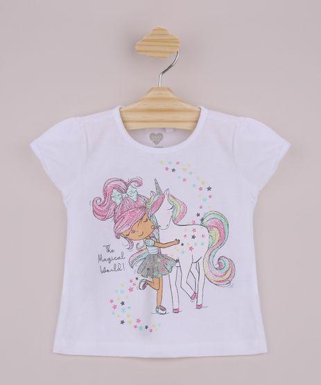 Blusa-Infantil-Menina-e-Unicornio-com-Glitter-Manga-Curta-Off-White-9964686-Off_White_1
