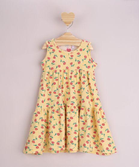 Vestido-Infantil-Estampado-Floral-com-Babado-Sem-Manga-Amarelo-9965643-Amarelo_1