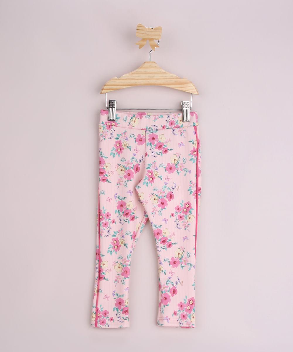 Calça Legging Infantil Estampada Floral com Vivo Aparente Rosa