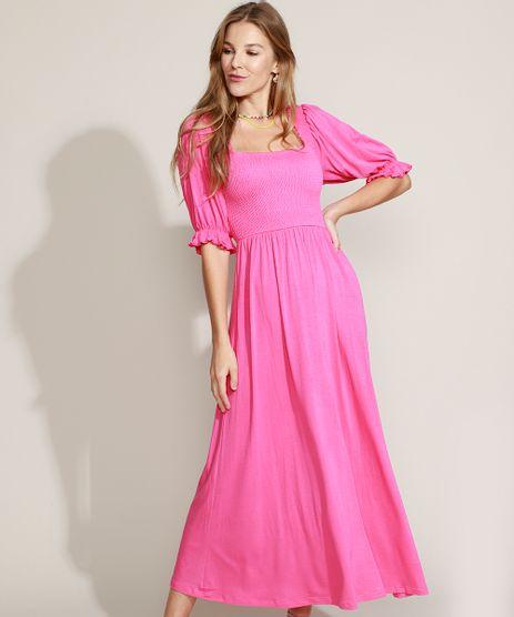 Vestido-Feminino-Midi-com-Lastex-Manga-Bufante-Pink-9970199-Pink_1