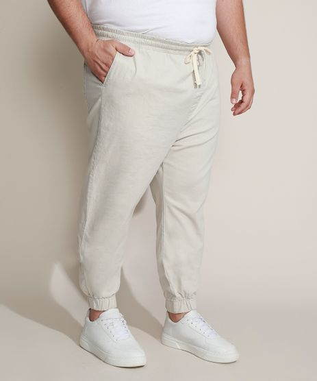 Calca-de-Sarja-Masculina-Plus-Size-Jogger-Skinny-Bege-Claro-9962493-Bege_Claro_1