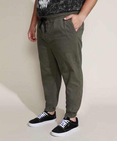 Calca-de-Sarja-Masculina-Plus-Size-Jogger-Skinny-Verde-Militar-9962493-Verde_Militar_1