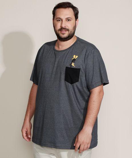 Camiseta-Masculina-Plus-Size-Patolino-com-Bolso-Manga-Curta-Gola-Careca-Cinza-Mescla-Escuro-9966305-Cinza_Mescla_Escuro_1
