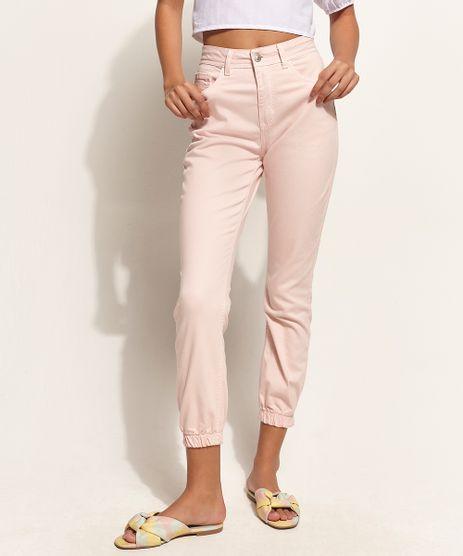 Calca-de-Sarja-Feminina-Skinny-Jogger-Cintura-Alta-Rose-9964625-Rosa_1