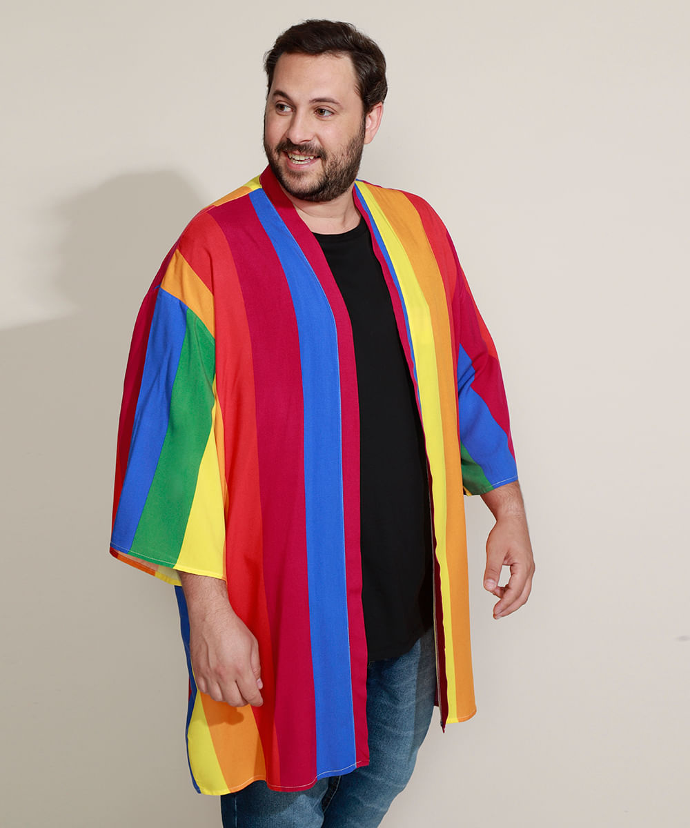 Kimono Masculino Plus Size Pride Listrado Multicor