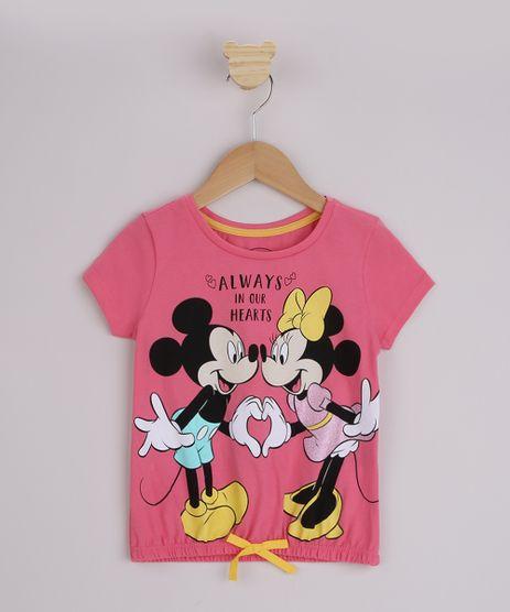 Blusa-Infantil-Minnie-e-Mickey-com-Laco-Manga-Curta-Pink-9956980-Pink_1