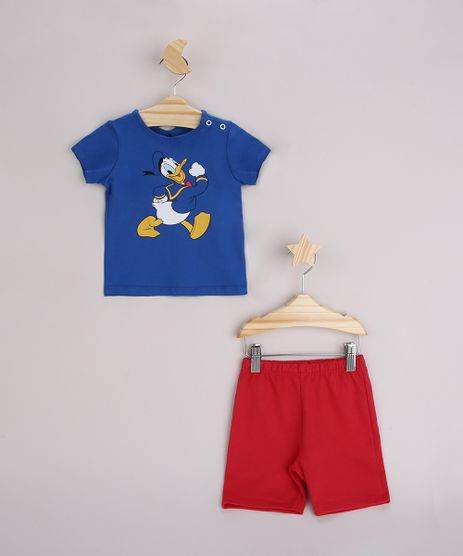 Conjunto-Infantil-Camiseta-Pato-Donald-Manga-Curta-Azul---Bermuda-Vermelho-9958284-Vermelho_1