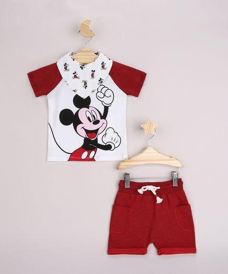 Conjunto-Infantil-Mickey-Camiseta-Raglan-Manga-Curta-Off-White---Short-com-Bolsos-Vermelho---Babador-Estampado-Off-White-9956274-Off_White_1