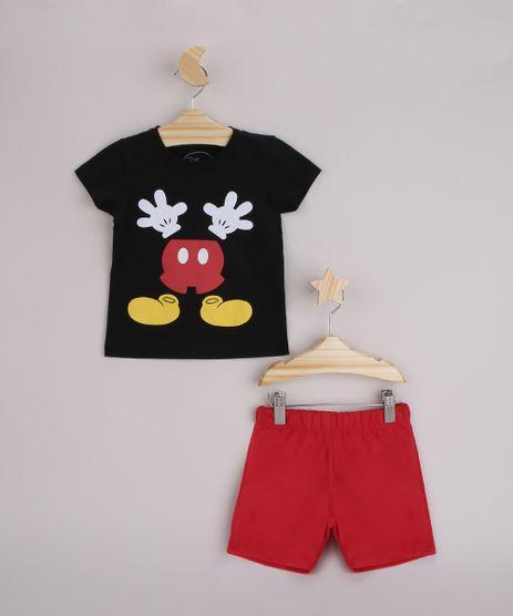Conjunto-Infantil-Camiseta-Mickey-Manga-Curta-Preta---Bermuda-Vermelho-9963482-Vermelho_1