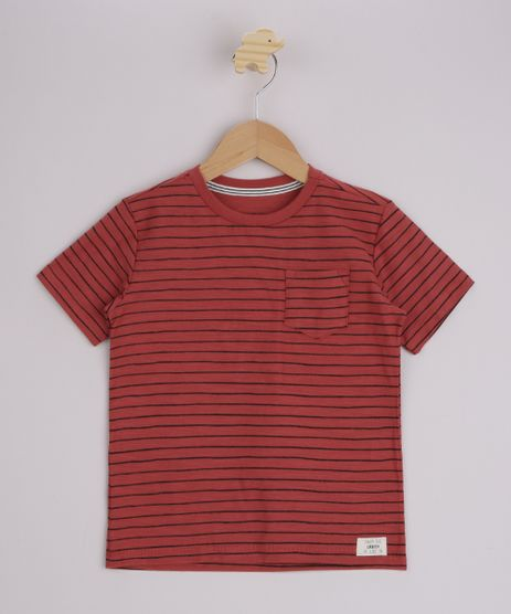 Camiseta-Infantil-Listrado-com-Bolso-Manga-Curta-Laranja-9969170-Laranja_1