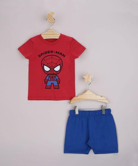 Conjunto-Infantil-Camiseta-Homem-Aranha-Manga-Curta-Vermelha---Bermuda-Azul-9963488-Azul_1