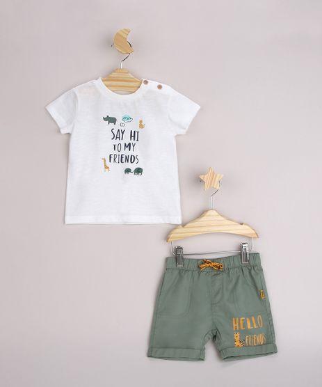 Conjunto-Infantil-Camiseta--Say-Hi-To-My-Friends--Manga-Curta-Off-White---Bermuda-com-Barra-Dobrada-Verde-9950582-Verde_1
