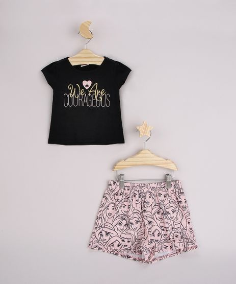 Conjunto-Infantil-Princesas-de-Blusa--We-Are-Courageous--Manga-Curta-Preta---Short-Estampado-Rosa-9962508-Rosa_1