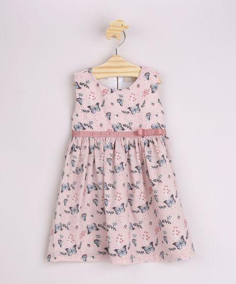 Vestido-Infantil-Estampado-de-Borboletas-com-Laco-Alca-Larga-Rosa-Claro-9963354-Rosa_Claro_1
