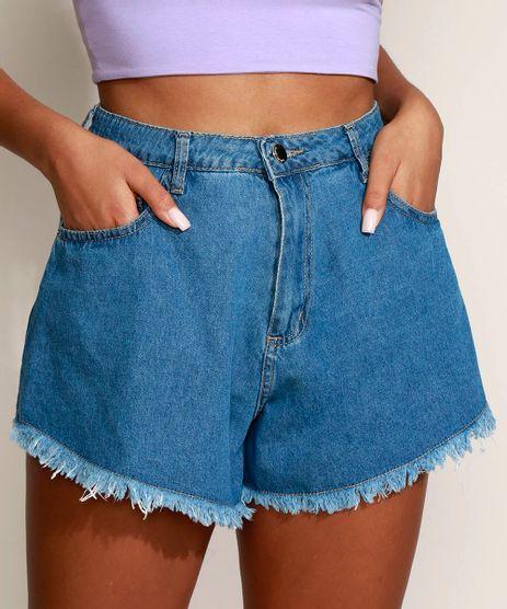 Short-Jeans-Feminino-Sawary-Gode-Cintura-Super-Alta-com-Barra-Desfiada-Azul-Medio-9974031-Azul_Medio_1