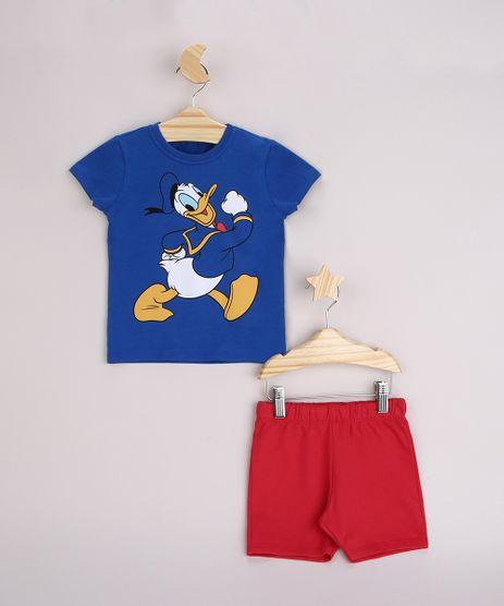 Conjunto-Infantil-Camiseta-Pato-Donald-Manga-Curta-Azul---Bermuda-Vermelho-9952698-Vermelho_1