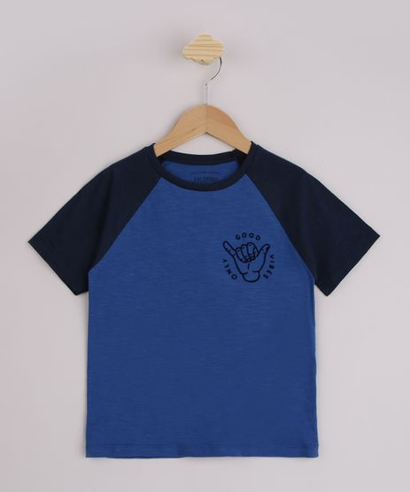 Camiseta-Infantil-Raglan--Only-Good-Vibes--com-Bordado-Manga-Curta-Azul-9955488-Azul_1