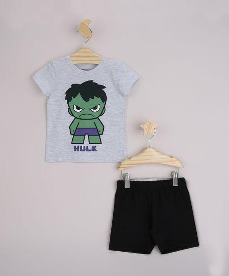 Conjunto-Infantil-Camiseta-Hulk-Manga-Curta-Cinza-Mescla---Bermuda-Preto-9963489-Preto_1
