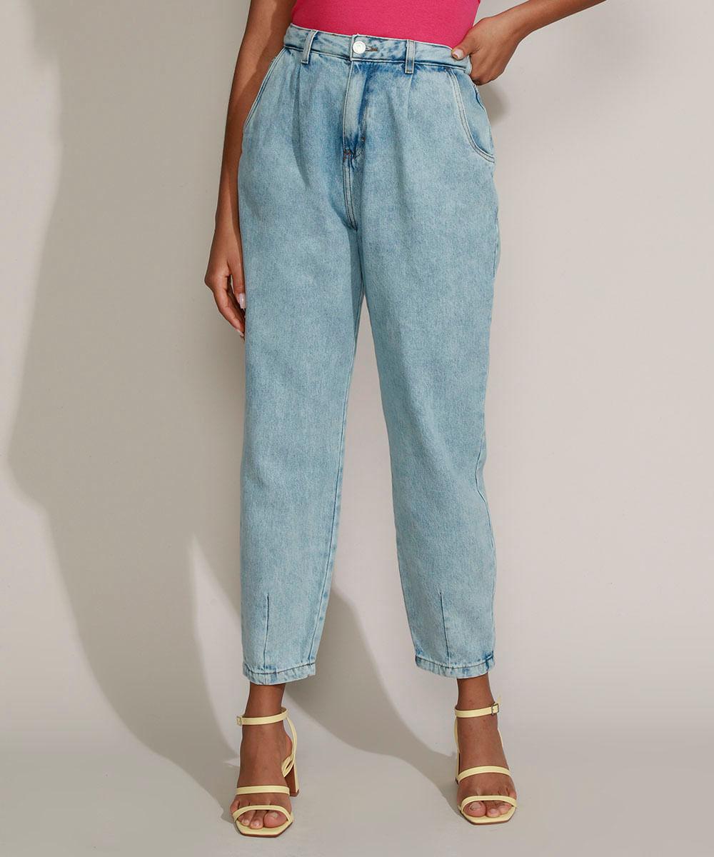 Calça Jeans Feminina Mindset Slouchy Cintura Super Alta Marmorizada Azul Claro