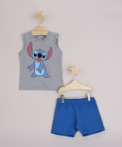 Conjunto-Infantil-Regata-Stitch-Cinza-Mescla-Claro---Bermuda-Azul-9963479-Azul_1