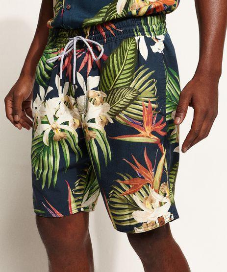 Bermuda-de-Sarja-Masculina-Estampada-Floral-com-Bolsos-Azul-Marinho-9967093-Azul_Marinho_1