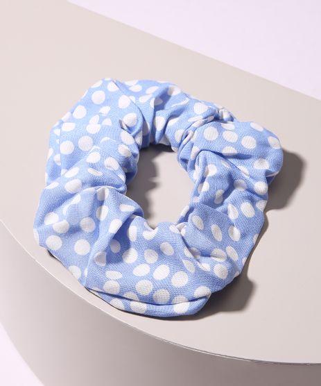Elastico-de-Cabelo-Scrunchie-Estampado-de-Poa-Azul-9968562-Azul_1