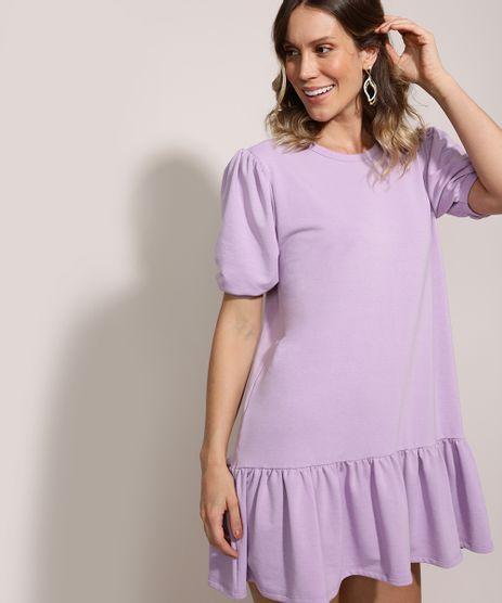 Vestido-de-Moletom-Feminino-Curto-Comfy-com-Babado-Manga-Curta-Bufante-Lilas-9961293-Lilas_1