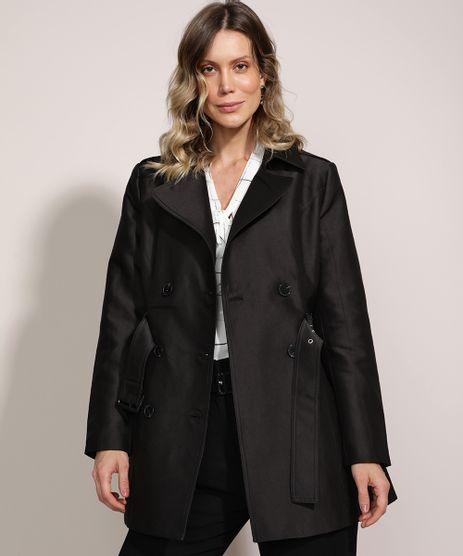 Casaco-Trench-Coat-Feminino-Transpassado-com-Faixa-para-Amarrar-Preto-9814323-Preto_1
