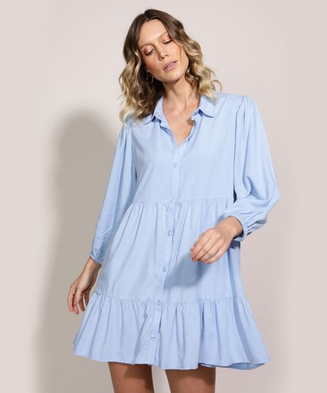 Vestido-Chemise-Feminino-Curto-com-Recortes-Manga-Longa-Azul-Claro-9962424-Azul_Claro_1