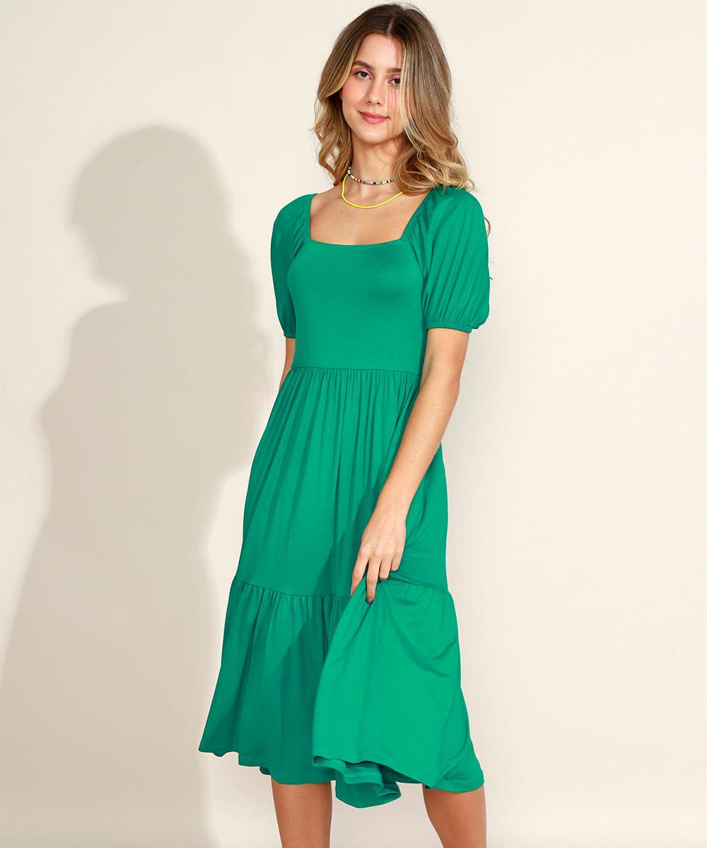 Vestido Feminino Midi com Lastex e Recortes Manga Bufante Verde