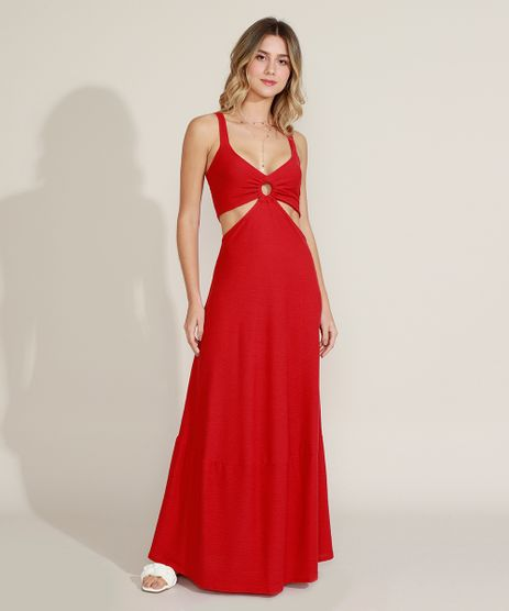 Vestido-Feminino-Longo-Texturizado-com-Vazado-Alca-Media-Vermelho-9961164-Vermelho_1