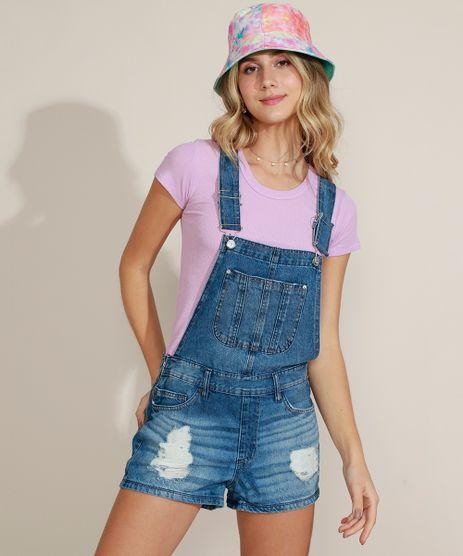 Jardineira-Jeans-Feminina-Destroyed-com-Bolsos-Azul-Medio-9963968-Azul_Medio_1