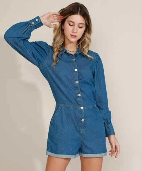 Macaquinho-Jeans-Feminino-com-Bolsos-Manga-Longa-Azul-Medio-9964531-Azul_Medio_1
