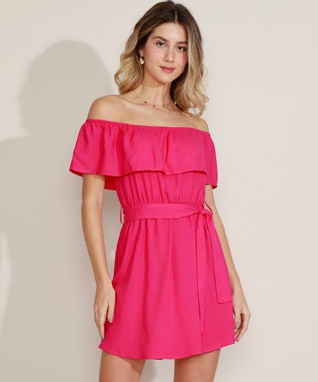 Vestido-Feminino-Curto-Ombro-a-Ombro-com-Babado-e-Faixa-Pink-9971793-Pink_1