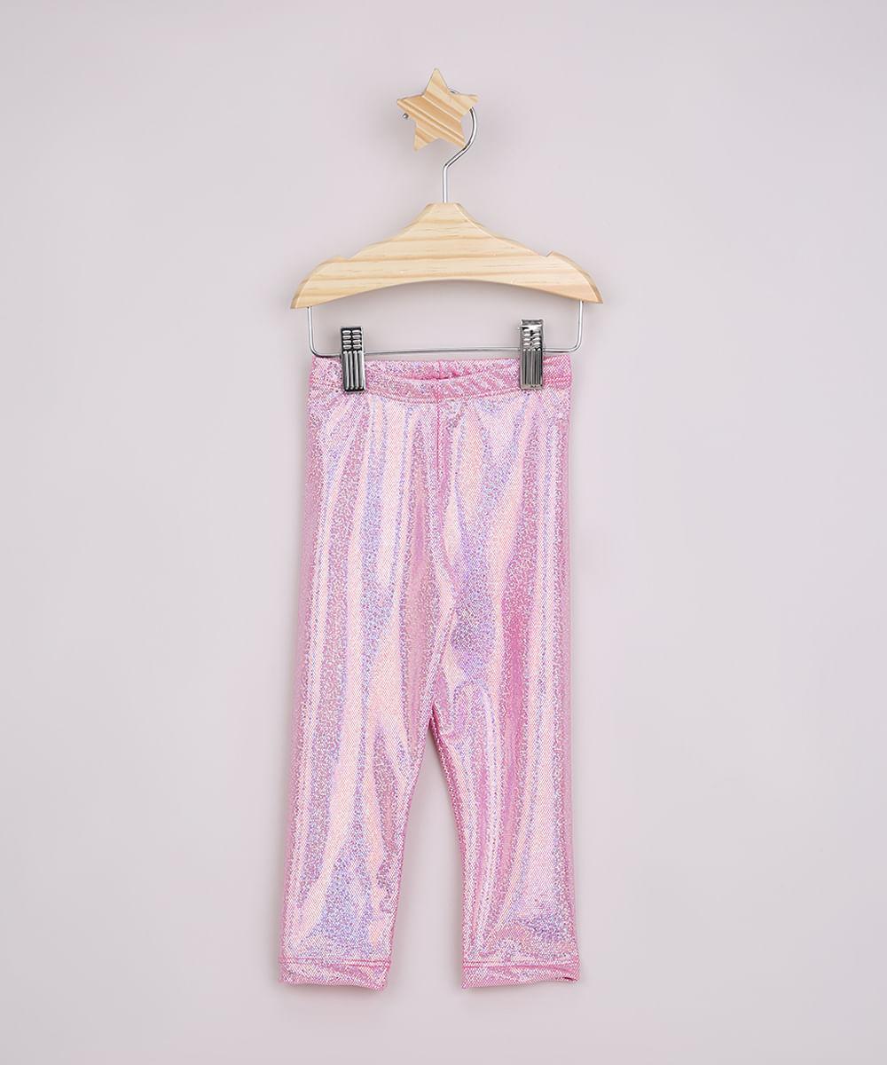 Calça Legging Infantil com Brilho Holográfica Rosa