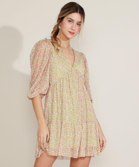 Vestido-Feminino-Curto-em-Tule-Estampado-Floral-Manga-3-4-Decote-em-V-Verde-Claro-9973158-Verde_Claro_1
