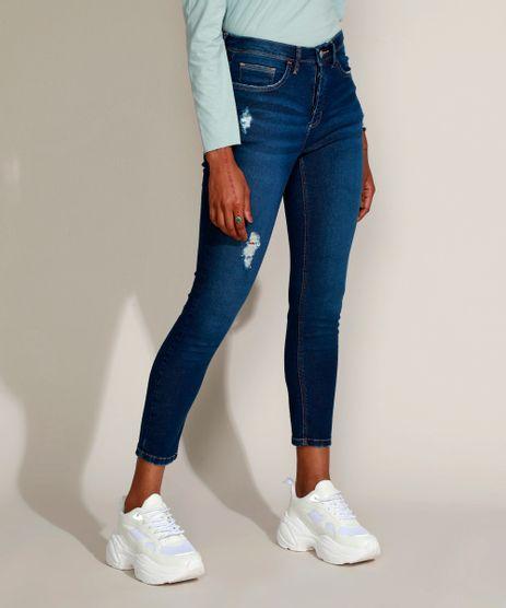 Calca-Jeans-Feminina-Cigarrete-Cintura-Alta-com-Rasgos-e-Certificacao-C2C™-Azul-Escuro-9956801-Azul_Escuro_1