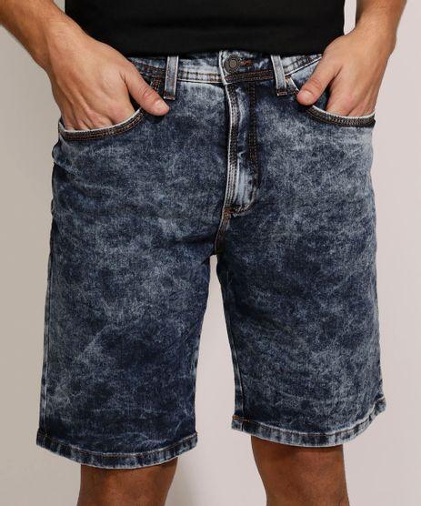 Bermuda-Jeans-Masculina-Slim-Marmorizada-com-Bolsos-Azul-Escuro-9963155-Azul_Escuro_1
