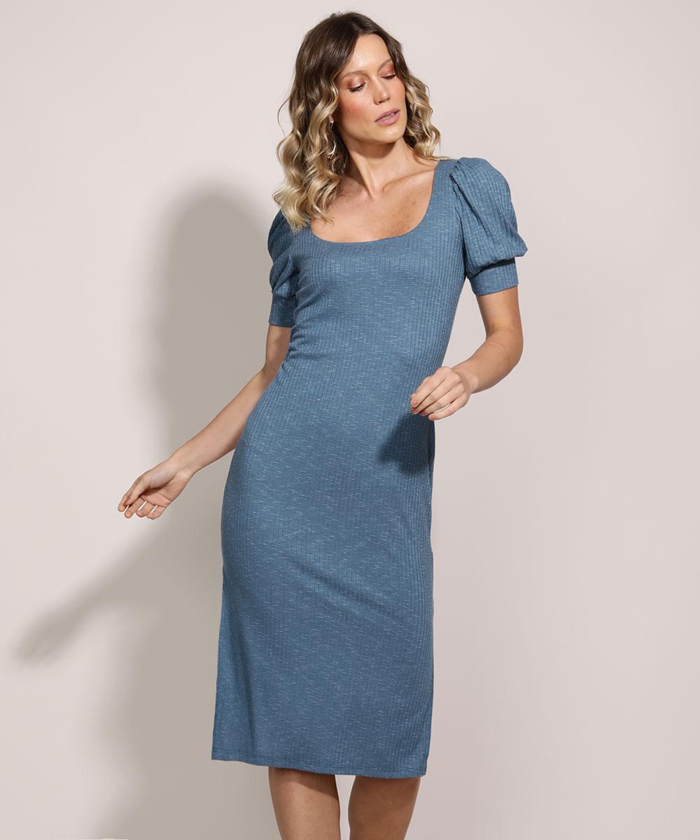 Vestido Feminino Midi Comfy com Fenda Manga Curta Bufante Azul