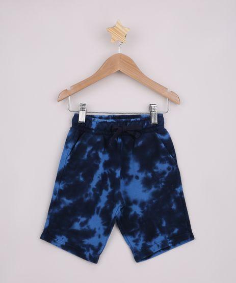 Bermuda-de-Moletom-Infantil-Estampada-Tie-Dye-com-Bolsos-Azul-Marinho-9961939-Azul_Marinho_1