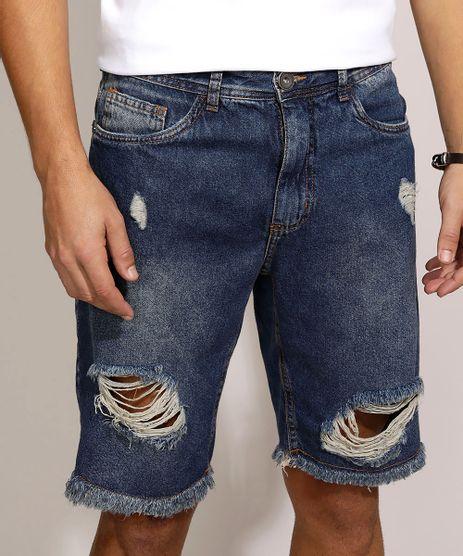 Bermuda-Jeans-Masculina-Slim-Destroyed-com-Bolsos-Azul-Escuro-9962613-Azul_Escuro_1