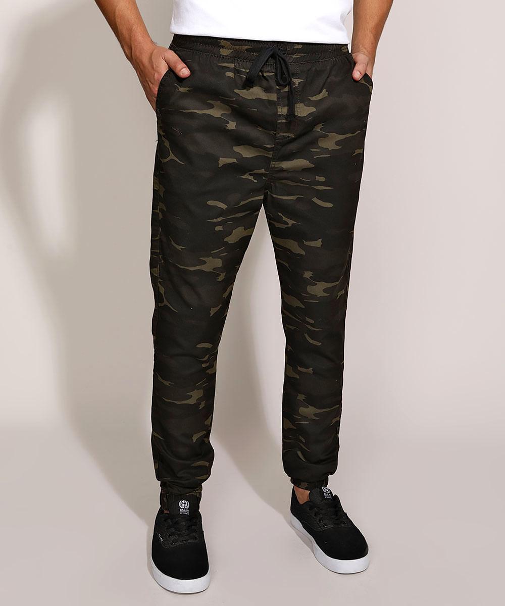 Calça de Sarja Masculina Jogger Skinny Estampada Camuflada Verde Escuro