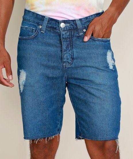 Bermuda-Jeans-Masculina-Slim-Destroyed-com-Certificacao-C2C™-Azul-Medio-9957125-Azul_Medio_1