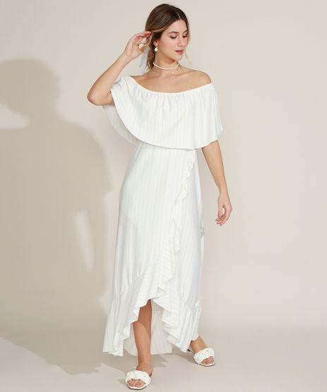 Vestido-Feminino-Longo-Ciganinha-Listrado-com-Lurex-Manga-Curta-Branco-9960241-Branco_1