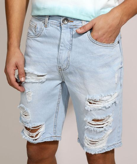Bermuda-Jeans-Masculina-Slim-Destroyed-com-Bolsos-Azul-Claro-9962612-Azul_Claro_1