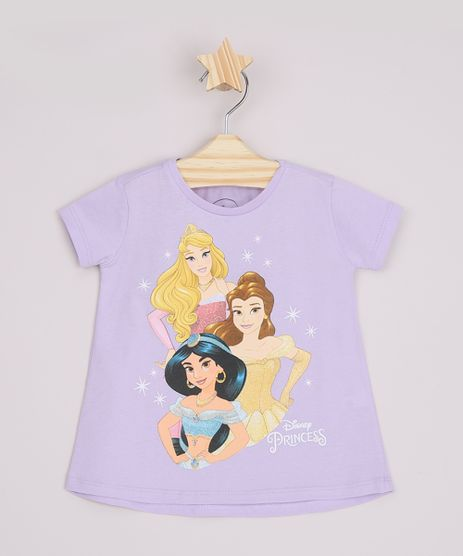 Blusa-Infantil-Ampla-Princesas-com-Glitter-Manga-Curta-Lilas-9965645-Lilas_1
