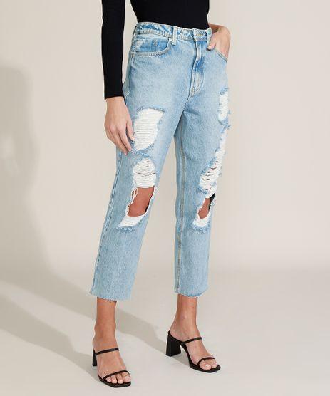 Calca-Jeans-Feminina-Mom-Cintura-Super-Alta-Destroyed-Azul-Claro-9963987-Azul_Claro_1