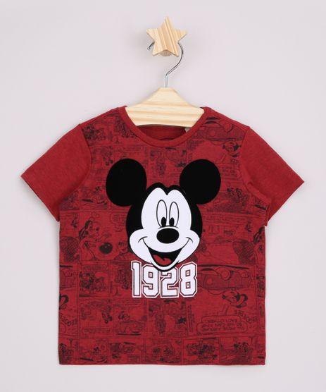 Camiseta-Infantil-Mickey-Flocada-Manga-Curta-Vermelha-9964186-Vermelho_1