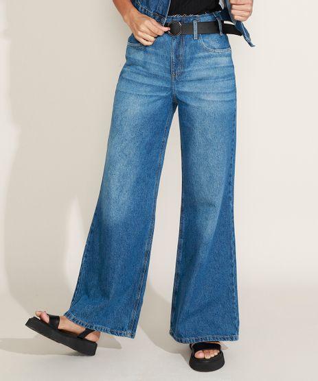 Calca-Jeans-Feminina-Wide-Pantalona-Cintura-Super-Alta-com-Cinto-Azul-Escuro-9968753-Azul_Escuro_1
