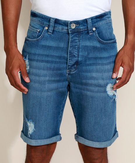 Bermuda-Jeans-Masculina-Ciclos-Slim-Destroyed-com-Certificacao-C2C™-Azul-Medio-9957124-Azul_Medio_1